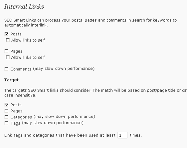 Wordpress SEO smart Links plugin