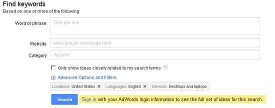 google adwords keyword analysis