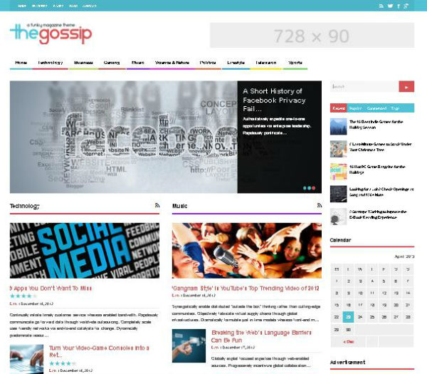 Gossip Blog WordPress Theme